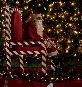 Santa Claus seating on chair