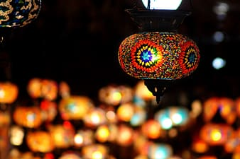 Red and yellow floral lantern