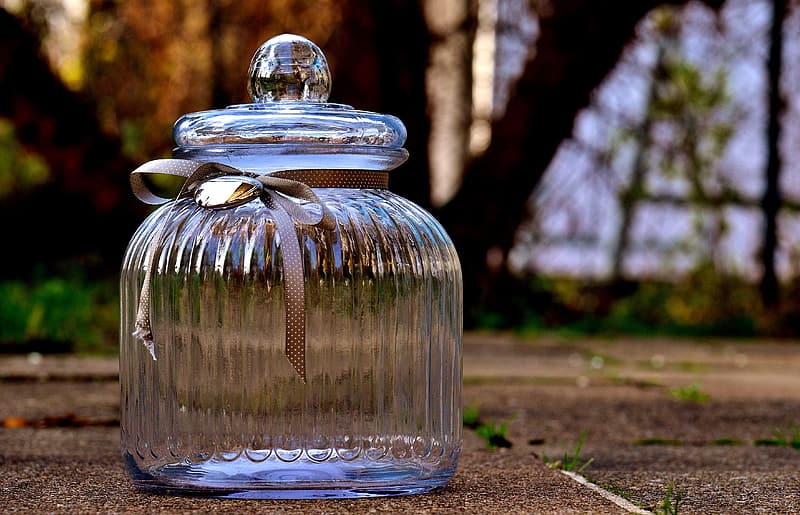 Closeup photography of clear glass candy dish with lid