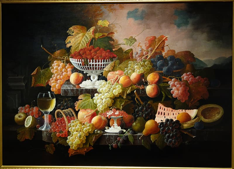 Still-life painting of fruits