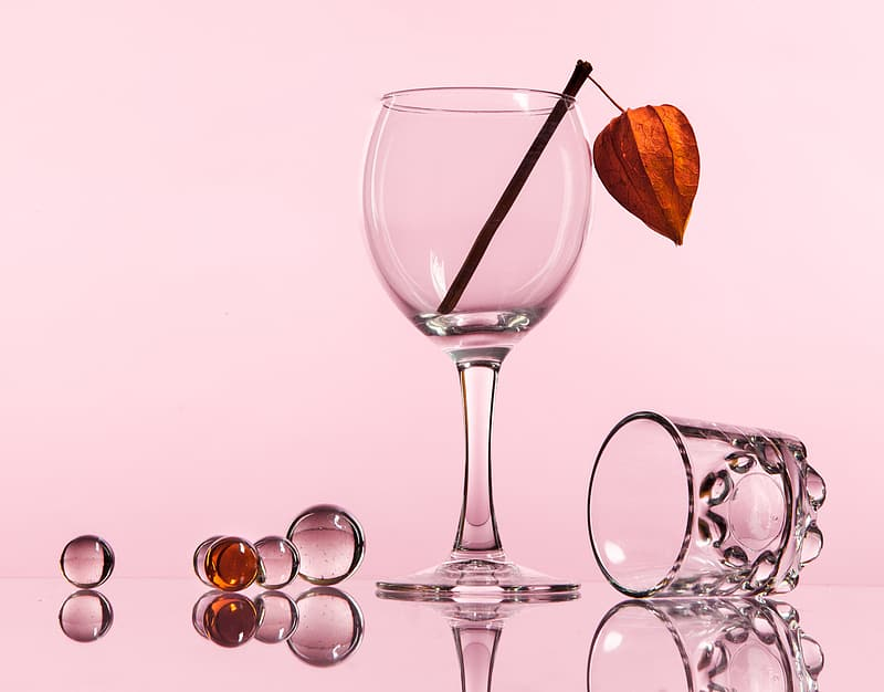 Pink wine glass