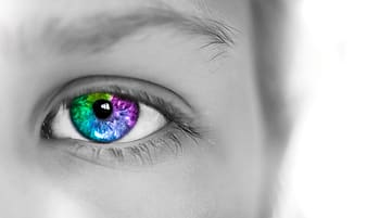 Selective color photography of green, purple, and pink eye