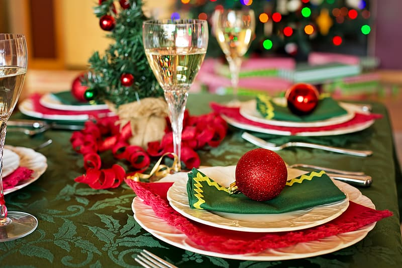 Red baubles on plates