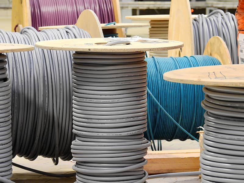 Several assorted color cable rolls