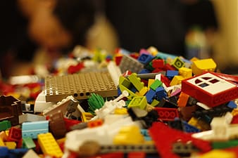 Yellow red and blue lego blocks