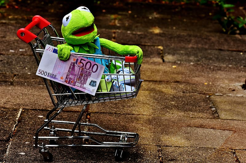 Muppets frog on shopping card holding 500 banknote