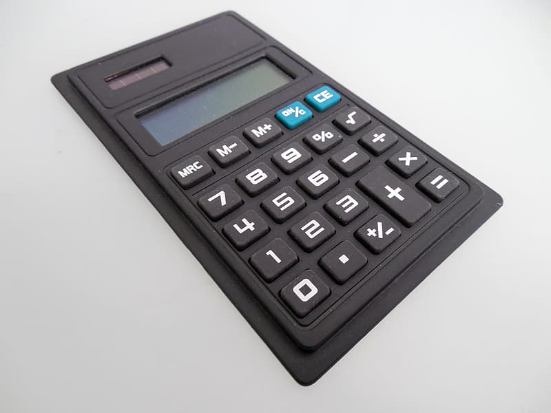 Black digital calculator