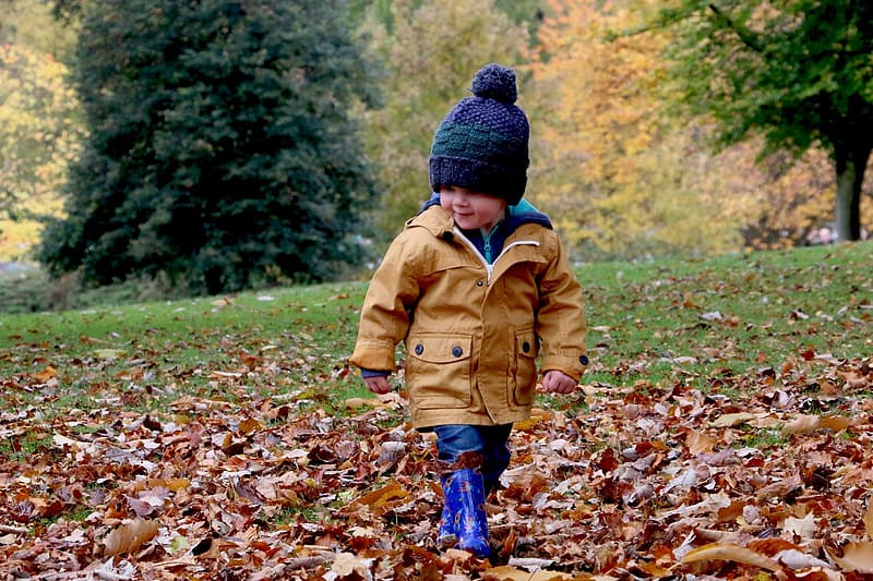 Child in brown jacket walking on dried leaves on ground during daytime