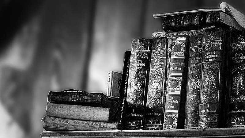Grayscale photo of books on table
