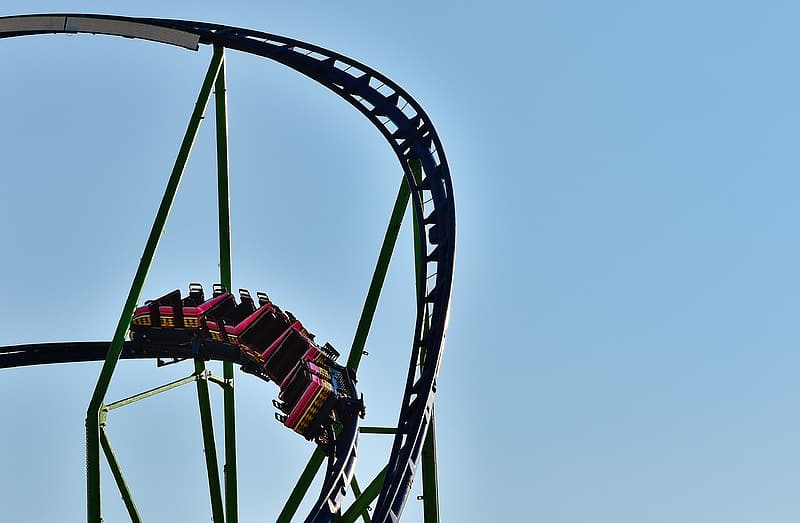 Green and red roller coaster
