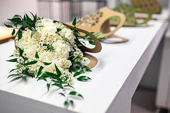 Beautiful bouquet of white flowers on a table