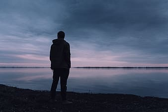 Silhouette of person during the horizon