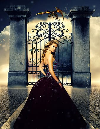 Woman wearing purple and gray glittery sequin gown near a gate and a dragon