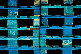 Blue and white wooden boxes