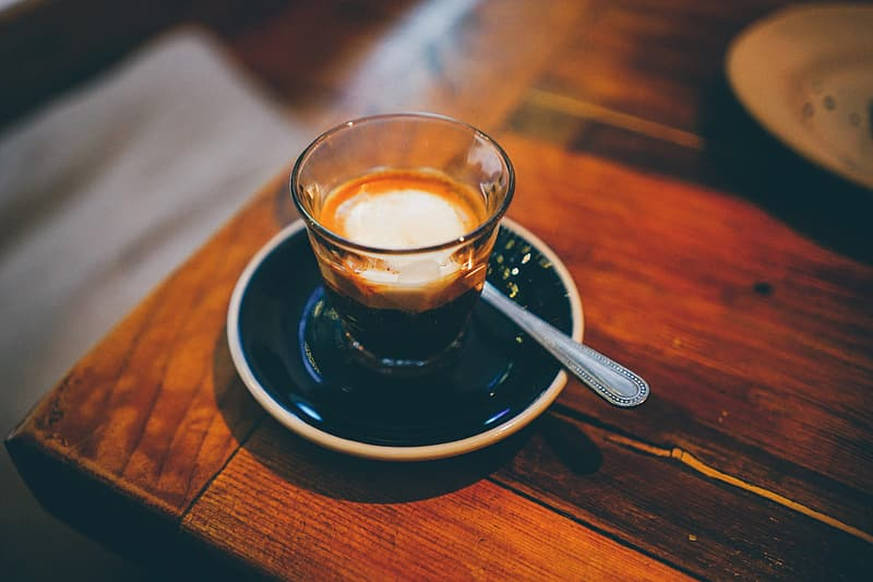Coffee on a table in a cafe