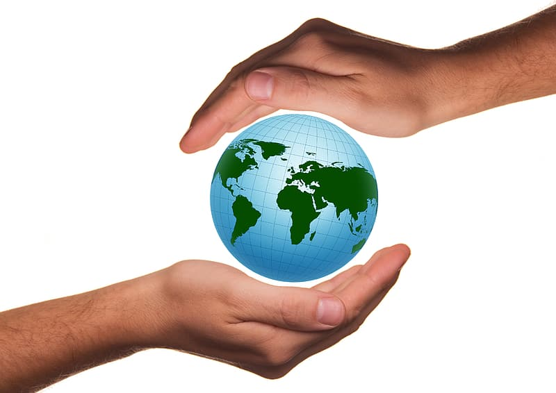 Two hand on world map illustration