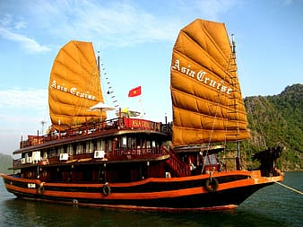 Orange and black Asia Cruise ship