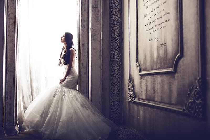 Woman in wedding gown photo