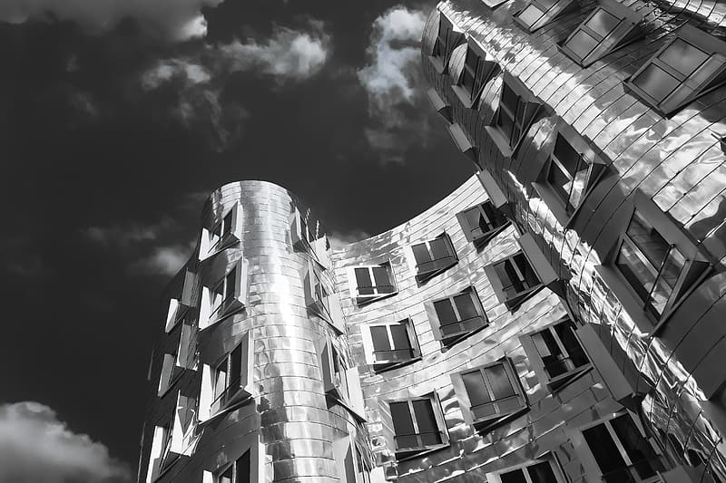 Grayscale architectural photography of building