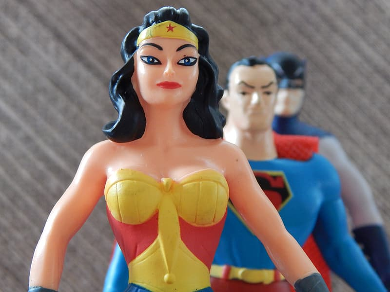 Woman in yellow and blue dress action figure