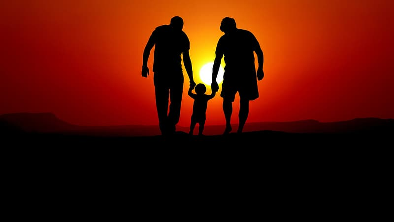 Silhouette of 3 men and woman standing on the ground during sunset