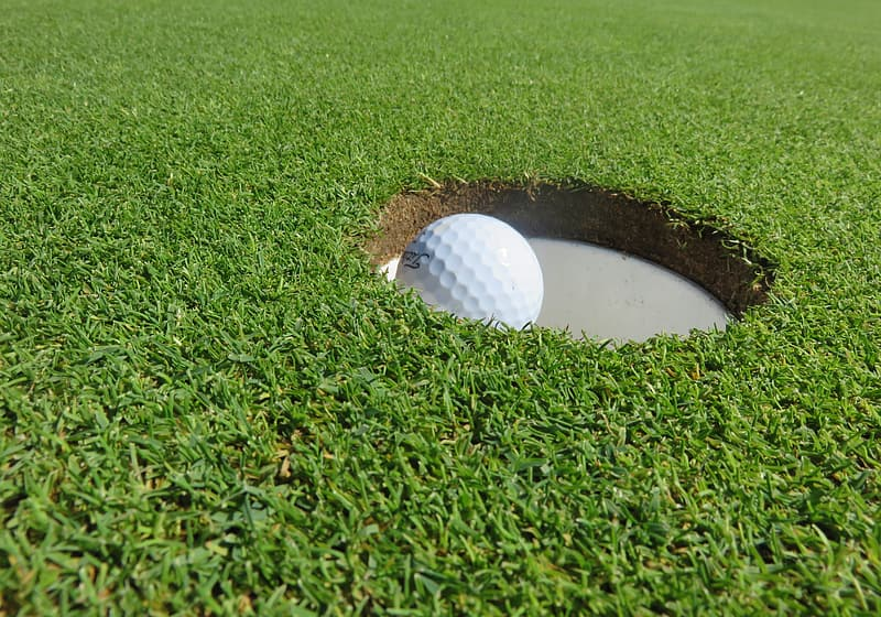 White golf ball on hole during daytime