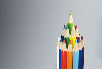 Pyramid of color pencils