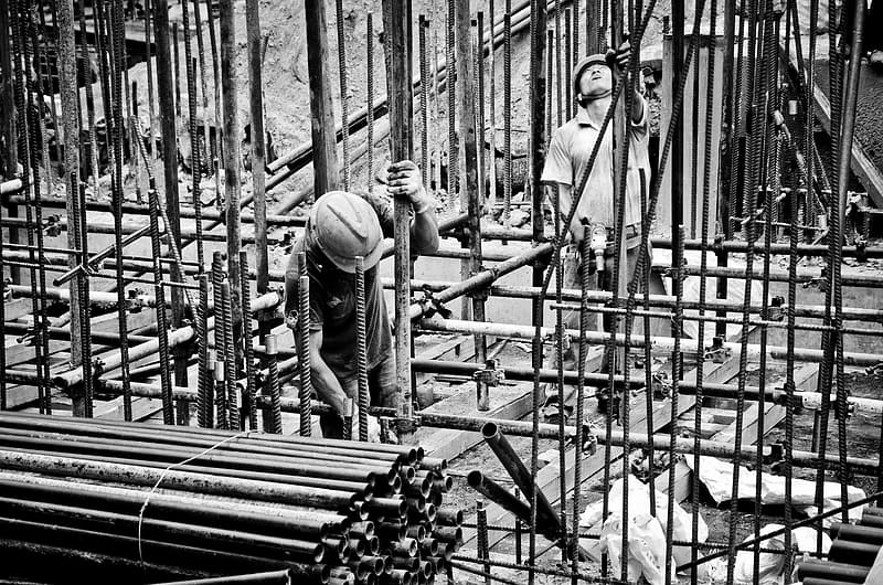 Grayscale photography of people working