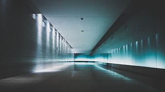 White and black hallway with lights