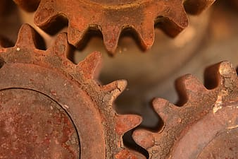 Rusted brown transmission gears
