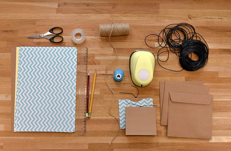 Top view of arts and craft kit