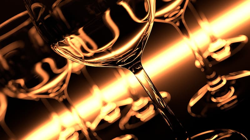 Clear long-stemmed wine glass close-up photo