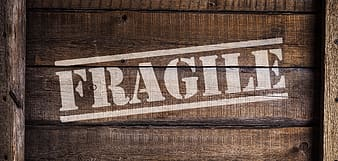 Fragile painted wooden crate