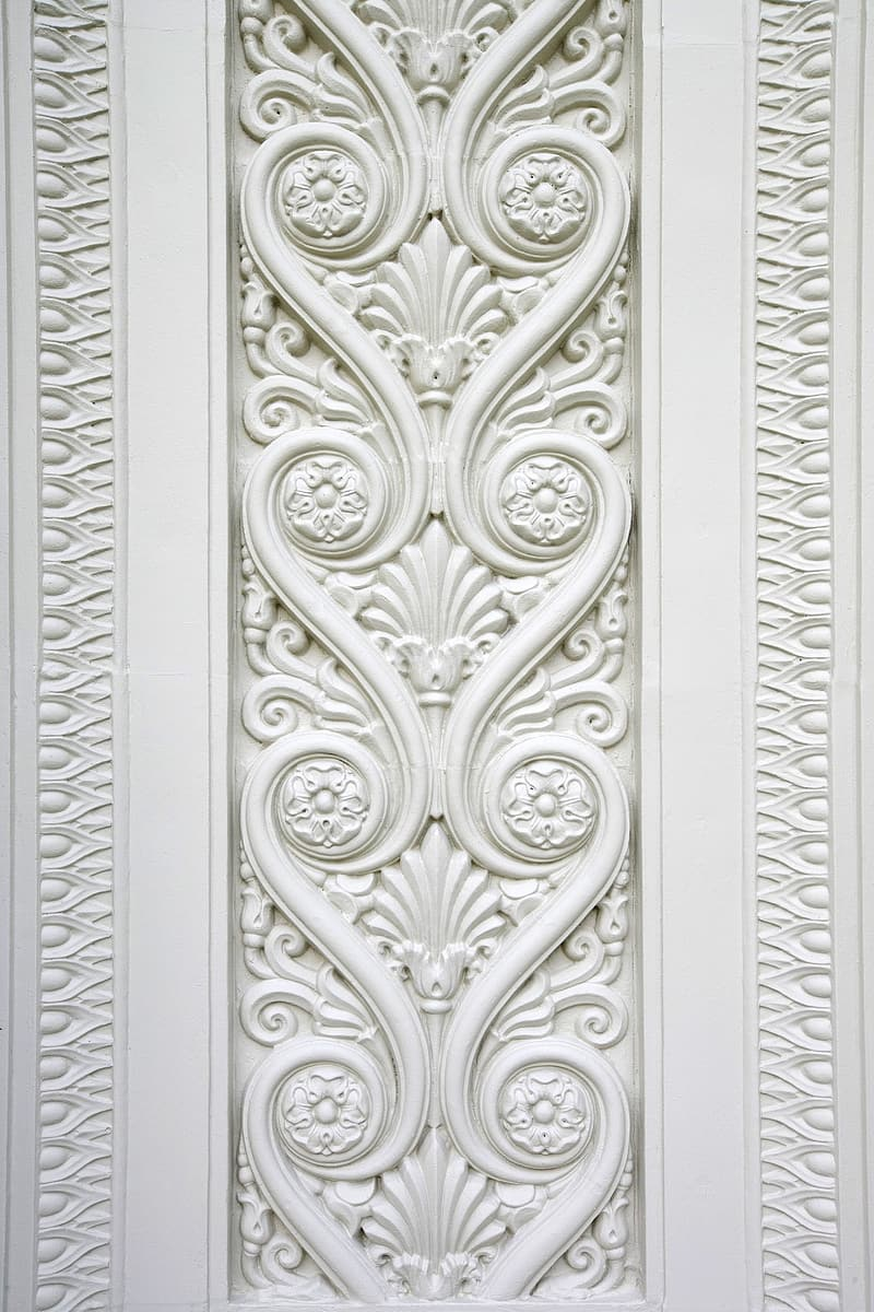 Ornate white floral surface