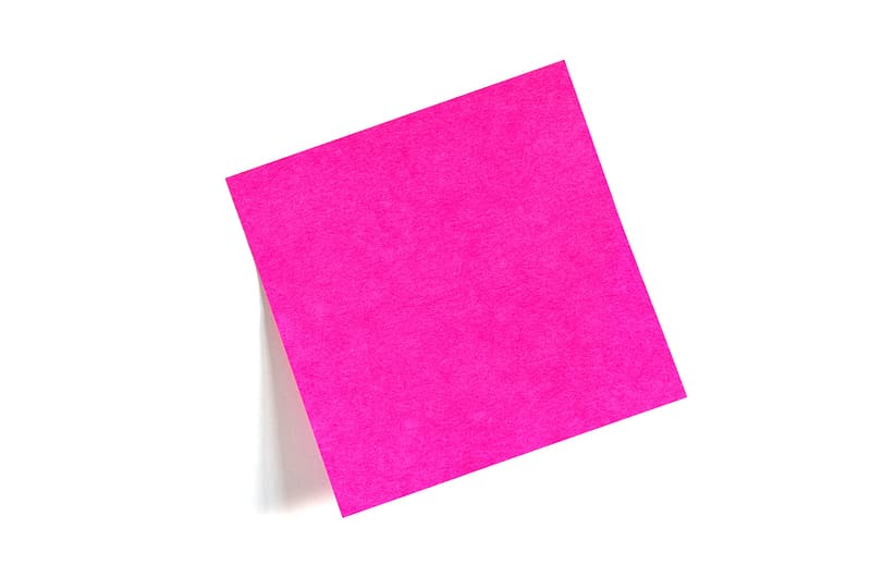 Pink paper on white surface