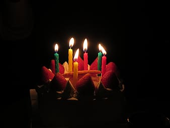 Lighted candles on strawberry cake