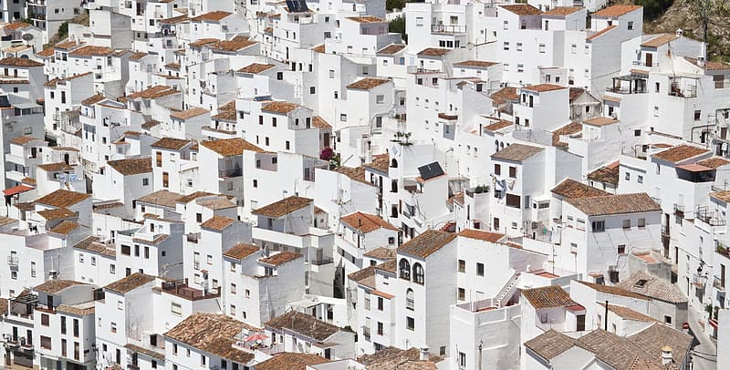 White and brown concrete houses