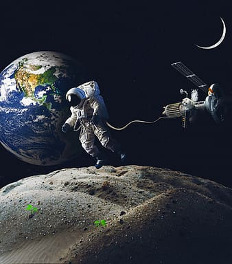Astronaut floating on space