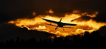 Silhouette of plane during daytime