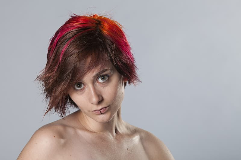 Red haired woman with red hair