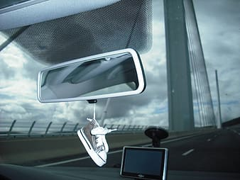 White and black car side mirror