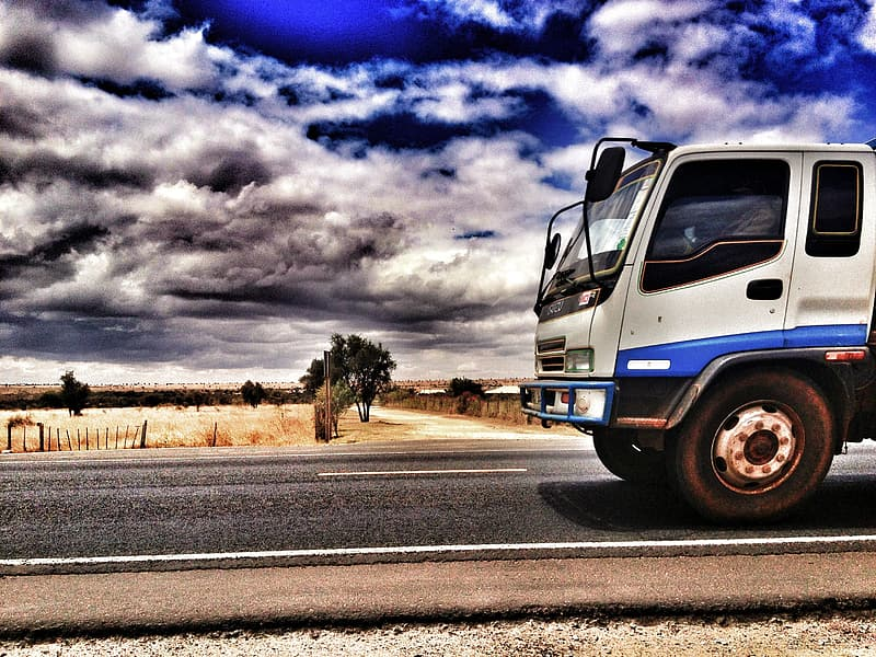 Photo of a white and blue truck on the road near wheat fields during daytime