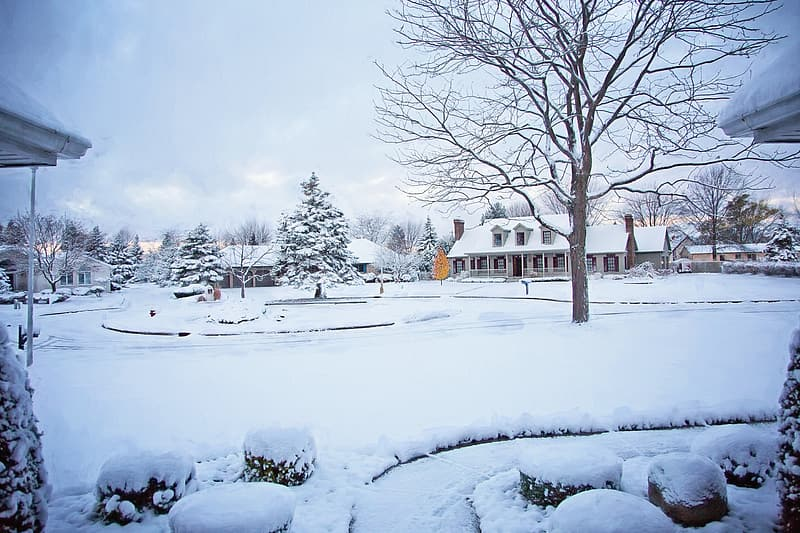 White snow covering the village