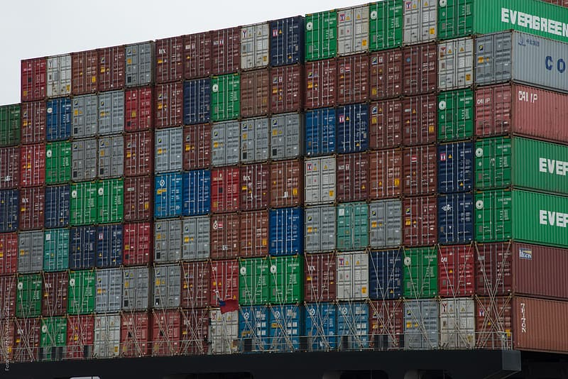Red green and blue cargo containers