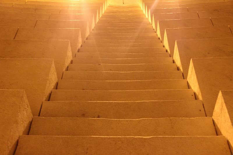 Brown stairs with sun ray