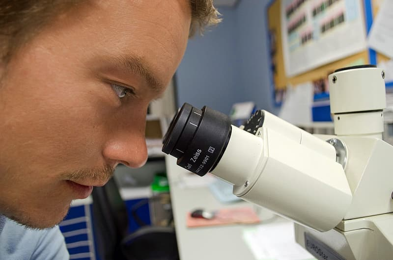 Photo of man looking at microscope