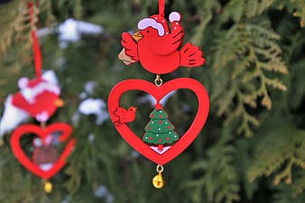 Red and green heart hanging decor