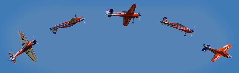 Five red-and-yellow monoplane