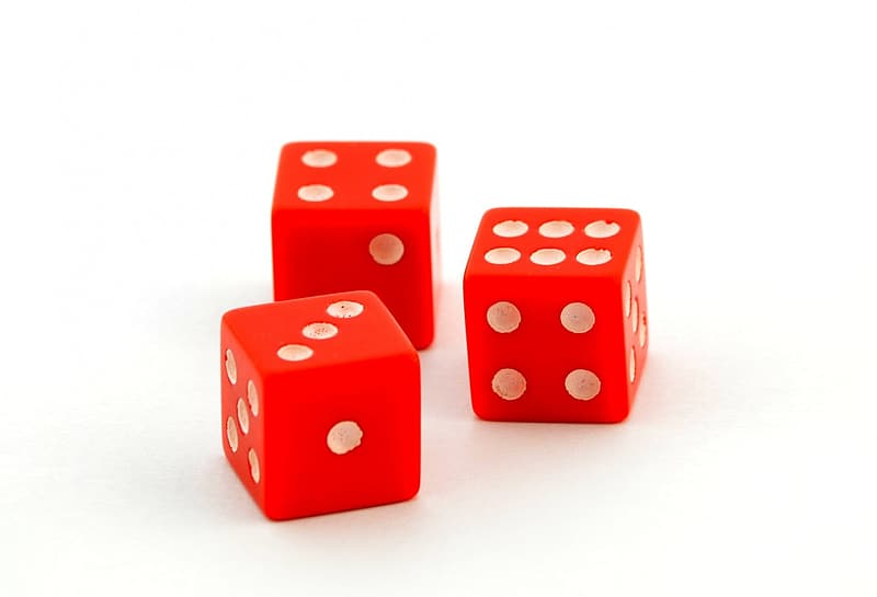 Three red-and-white dices