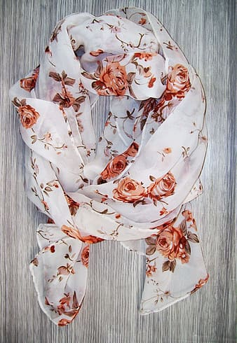 White and red floral scarf